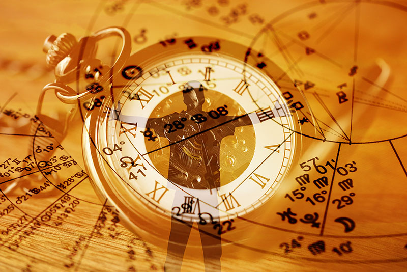 an astrology birth-chart with timings